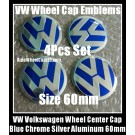 VW Volkswagen 60mm Blue Chrome Silver Wheel Center Cap Stickers Emblems Curve Aluminum 4Pcs Set
