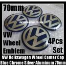 VW Volkswagen 70mm Blue Chrome Silver Wheel Center Cap Stickers Emblems Curve Aluminum 4Pcs Set