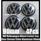 VW Volkswagen 90mm Blue Chrome Silver Wheel Center Caps Roundels Stickers 4Pcs Emblems Badges Curve Aluminum Alloy
