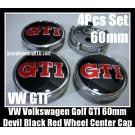 VW Volkswagen Devil Black Red GTI Wheel Center Caps Emblems 60mm Golf 4Pcs Set