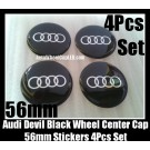 Audi Black Chrome Silver Rings Wheel Center Caps Emblems Roundels Stickers 56mm 4Pcs Set
