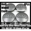 Audi 60mm Grey Chrome Silver Wheel Center Emblems Caps 4B0 601 170 3.0T 2.0T A3 A4 A5 A6 A7 A8 Q3 Q5 Q7 TT A4L A6L