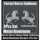 Ferrari Metal Chrome Silver Horses Logo Badge Emblems Stickers 2Pcs Set Car Trucks Sides Motocycle Bike