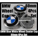 BMW Classic Blue White 60mm Wheel Center Hubs Caps Roundels 4Pcs Emblems Badges Aluminium Alloy