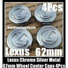 Lexus 62mm Wheel Center Emblems Caps Chrome Silver 4Pcs Set IS ES GS LS RX Metal Aluminum RX300 RX330 RX400H ES240 GS300NEW IS300 ES330 GS300, 430 LS430 RX350