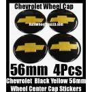 Chevrolet Chevy Black Gold Yellow Wheel Center Caps Emblems Badges Roundels Stickers 56mm 4Pcs Set