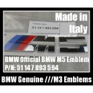 BMW Genuine ///M5 Power 5 Series Blue Red Metallic Silver Trunk Rear Boot Emblems Badges 51147893594 51 14 7 893 594 F10 Sport