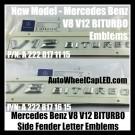 Mercedes Benz 2015 2016 New V8 V12 BITURBO Sides Fenders Letters Emblems Badges Model A 221 817 11 15 16 AMG GL GLK SL ML Class Silver