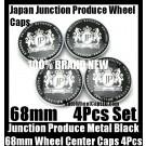 Junction Produce JP Metal Black 68mm Wheel Center Emblems Caps 4Pcs Set