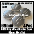 Audi 69mm Grey Chrome Silver Wheel Center Emblems Caps 4B0 601 170 A 3.0T 2.0T A3 A4 A5 A6 A7 A8 Q3 Q5 Q7 TT A4L A6L 4B0601170A