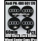 Audi 60mm Black Chrome Silver Wheel Center Emblems Caps 4B0 601 170 3.0T 2.0T A3 A4 A5 A6 A7 A8 Q3 Q5 Q7 TT A4L A6L