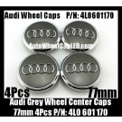 Audi 77mm Grey Chrome Silver Wheel Center Emblems Caps 4L0 601 170  3.0T 2.0T A3 A4 A5 A6 A7 A8 Q3 Q5 Q7 TT A4L A6L 4L0601170