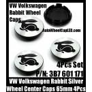 VW Volkswagen Rabbit Chrome Silver Wheel Center Caps 65mm 3B7 601 171 4Pcs Set Aluminum Alloy Golf Bora Jetta Polo Passat 3B7601171