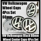 VW Volkswagen 60mm Black Chrome Silver Wheel Center Caps Emblems Roundels 4Pcs Set