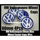 VW Volkswagen 60mm Blue Chrome Silver Wheel Center Caps Emblems Roundels 4Pcs Set