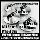 VW Volkswagen ABT SportSLine Wheel Center Caps 65mm 3B7 601 171 4Pcs Metallic Silver Golf Bora Jetta Polo Passat 3B7601171
