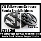 VW Volkswagen Scirocco Matte Devil Black Front Hood Rear Trunk Emblems Bonnet Boot Badges 2Pcs Set