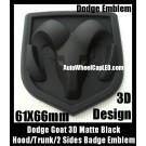 Dodge 3D Matte Black Emblem Hood Trunk Head Grill Tailgate 61*66mm Ram Badge Avenger Caliber Challenger