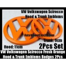 VW Volkswagen Scirocco Fresh Orange Front Hood Rear Trunk Emblems Badges 2Pcs Set
