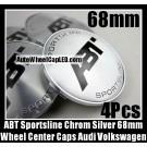 ABT Sportsline Wheel Center Caps 68mm Roundels Chrome Silver 4Pcs Set Volkswagen Audi A4 A5 A6 A8 Golf Jetta