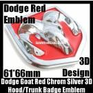 Dodge 3D Red Chrome Silver Emblem Hood Trunk Head Grill Tailgate 61*66mm Ram Badge Avenger Caliber Challenger