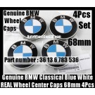 Genuine BMW Classical Blue White Wheel Center Caps 68mm 36136783536 4Pcs Emblems Roundels Badges Made in Germany