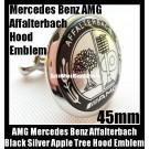 AMG Mercedes Benz Affalterbach Metal Black Chrome Silver Apple Tree Hood Badge Emblem 45mm Class W E S C CLK SLK Series