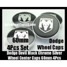 Dodge Devil Black Chrome Silver Wheel Center Caps Emblem 60mm 4Pcs Set Goat Ram Avenger Caliber Challenger
