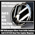 VW Volkswagen Gloss Chrome Silver Front Grille Emblem Badge Golf 6 MK6 GTI GTIs R20 New Polo Sagitar Magotan Bonnet Hood