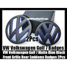 VW Volkswagen Golf 7 Matte Blue Black Front Grille Hood Rear Trunk Emblems Badges 2Pcs Set Bumper