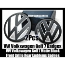 VW Volkswagen Golf 7 Matte White Black Front Grille Hood Rear Trunk Emblems Badges 2Pcs Set Bumper