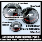 BMW AC Schnitzer Drivers Collection Emblems Badge Hood 82mm Trunk 74mm Steering Wheel Horn 45mm 3Pcs Set