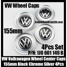 VW Volkswagen Black Chrome Silver Wheel Center Caps Hub Rim 155mm 1J0 601 149 B 4Pcs Set Golf Bora Jetta MK4 1J0601149B