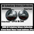 BMW AC Schnitzer Drivers Collection Emblems Badge Hood 82mm Trunk 74mm Bonnet Boot 2Pcs Set