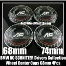 BMW AC SCHNITZER Drivers Collection Wheel Center Hubs Caps Roundels 4Pcs Emblems Badges Aluminium Alloy