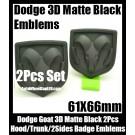 Dodge 2Pcs 3D Ram Matte Black Emblems Hood Trunk Bonnet Boot Badges Grill Tailgate Avenger Caliber Challenger 61X66mm