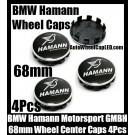 BMW Hamann Motorsport GMBH Black Silver Wheel Center Caps 68mm 4Pcs Set 10 Clips Aluminum Metal
