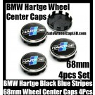 BMW Hartge Black Blue Stripes Wheel Center Caps 68mm 4Pcs Set Roundels 10 Clips Aluminum Metal
