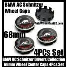BMW AC Schnitzer Drivers Collection Wheel Center Caps 68mm 4Pcs Set Roundels 10 Clips Aluminum Metal
