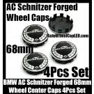 BMW AC Schnitzer Forged Wheel Center Caps 68mm 4Pcs Set Roundels 10 Clips Aluminum Metal