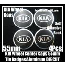 KIA Wheel Center Caps Emblems Tin Stickers Aluminum 55mm DIE CUT Roundels 3D 4Pcs Set