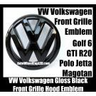 VW Volkswagen Full Gloss Black Front Grille Emblem Badge Golf 6 MK6 GTI GTIs R20 New Polo Jetta Magotan Bonnet Hood