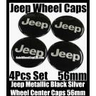 Jeep Devil Black Chrome Silver Wheel Center Caps Emblems Badges Roundels Stickers 56mm 4Pcs Set