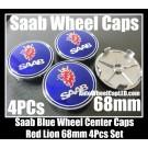 Saab Blue Wheel Center Caps Emblems 68mm Red Lion Yellow Crown 4Pcs Set 93 9-3 9-5 900 9000 9-3X 9-7X