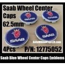 Saab Blue Wheel Center Caps Emblems 62.5mm PN 12775052 Red Lion Yellow Crown 4Pcs Set 93 9-3 9-5 900 9000 9-3X 9-7X