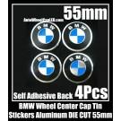 BMW Wheel Center Cap Tin Stickers Aluminum 55mm DIE CUT Roundels 3D 4Pcs Set