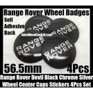 Range Rover Black Chrome Silver Wheel Center Caps Emblems Stickers 56.5mm Roundels Curve Aluminum Alloy 4Pcs Land