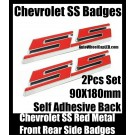 Chevrolet Chevy SS Red Hot Badges Emblems Front Trunk Rear Sides Metal Alloy Stickers 2Pcs Set