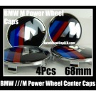 BMW ///M Power Wheel Center Caps 68mm Emblems Roundels Badges Blue Red Stripes 4Pcs M3 M5 M6 Curve