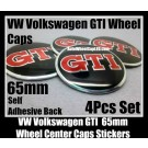 VW Volkswagen GTI 65mm Wheel Center Caps Emblems Stickers Badges Roundels 4Pcs Curve MK4 MK5 MK6 Golf 5 6 7 Polo Aluminum Alloy